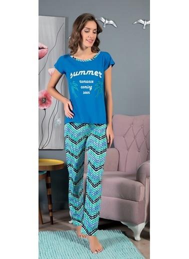 Piaff Kadın Pijama Pamuklu Renkli Baskılı Üst Pantolon 2'li Takım Renkli